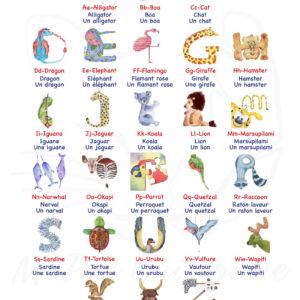 MaPatGriffonne abécédaires animaux francais anglais