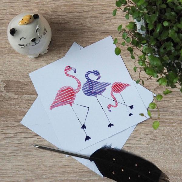 carte-postale-flamants-roses-debout